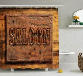 Holzschnitzerei Stil Saloon Duschvorhang