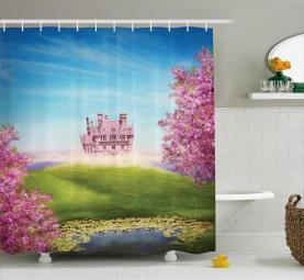 Fairy Castle Fröhliche Blüten Duschvorhang