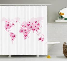 Globale Punkte Herz Liebe Duschvorhang