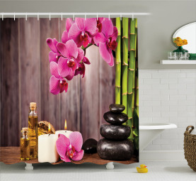 Orchid Flowers Rocks Bamboo Shower Curtain
