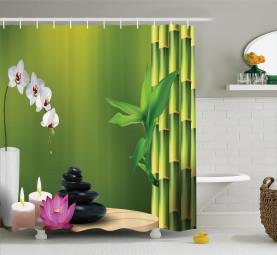 Bambus Blume Orchidee Stein Duschvorhang