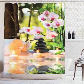 Spa mit Kerzen Orchideen Duschvorhang