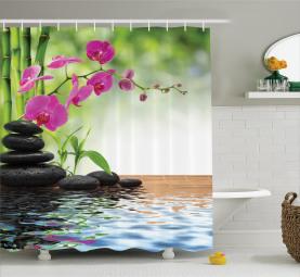 Bambus-Baum-Orchideen-Steine Duschvorhang