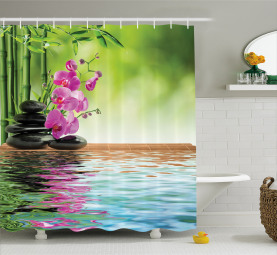 Tropische Orchideenblüte Duschvorhang