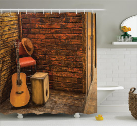 Wooden Stage Pub Cafe Shower Curtain
