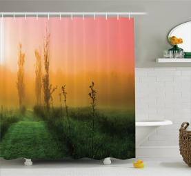 Morning Rising Sun at Field Shower Curtain