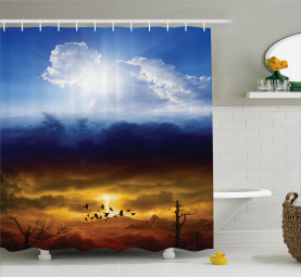 Sun Stormy Himmel Himmel Duschvorhang