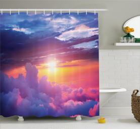 Sonnenuntergang Himmel und Wolken Duschvorhang