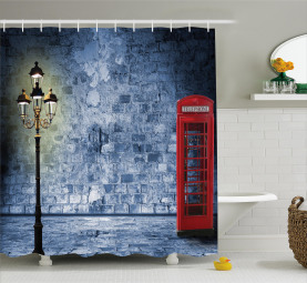 British Phone Booth Wall Shower Curtain