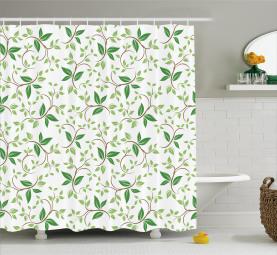 Fancy Ivy Green Blätter Duschvorhang