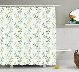 Symmetrische Olivenblätter Duschvorhang