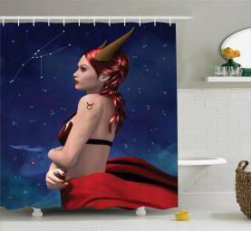 Stier-Mädchen-Horn-Zeichen Duschvorhang
