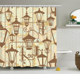 Old Town Wrought Lanterns Shower Curtain