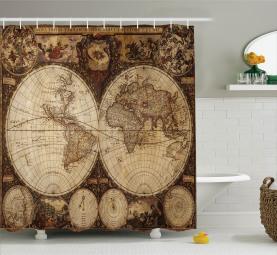 Historischer alter Atlas Duschvorhang