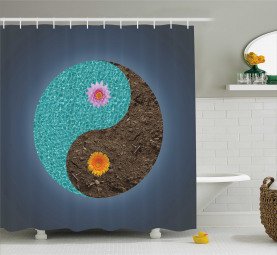 Yin Yang Blume Teal Brown Duschvorhang