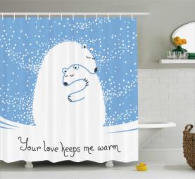Eisbär Mutter Baby Duschvorhang