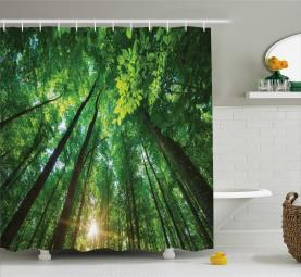 Vibrierende Sonnenstrahlen und Bäume Duschvorhang