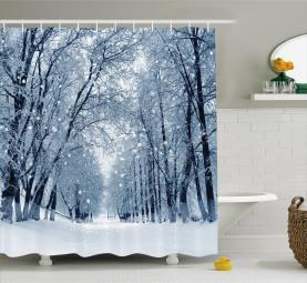 Wildlife Snowy Trees Shower Curtain