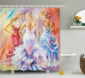 Dress Up Party Theme Ladies Shower Curtain