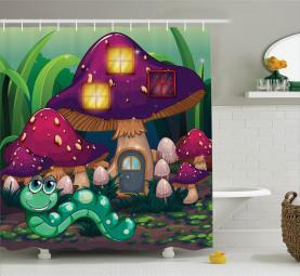 Wurm Pilz Haus Duschvorhang