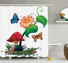 Blumen Schmetterlinge Duschvorhang