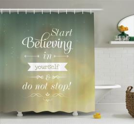Gelbe inspirierende Buchstaben Duschvorhang