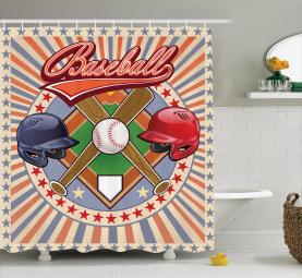 Retro Pop-Art Baseball Duschvorhang