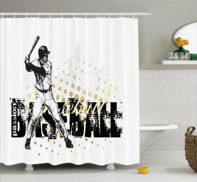 Baseball-Grunge-Batting Duschvorhang