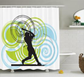 Baseball-Spieler-Kreise Duschvorhang