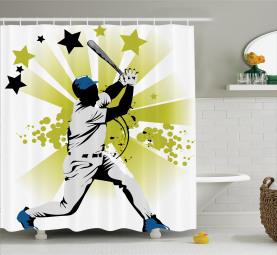 Pitcher schlägt den Ball Duschvorhang