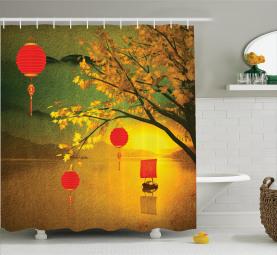 Traditionelles Chinesisch Duschvorhang