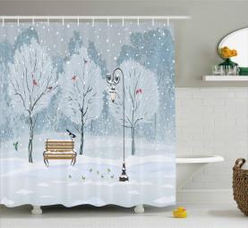 Schnee im Park Weihnachtsbäume Duschvorhang