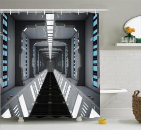 Space Ship Corridor View Shower Curtain