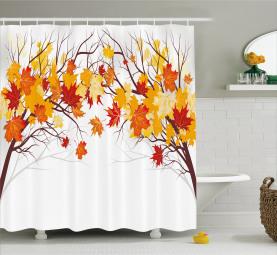 Cartoon Ahorn Herbst Baum Duschvorhang