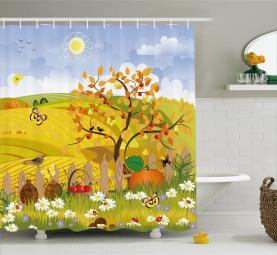 Nette Herbst-Garten-Gänseblümchen Duschvorhang