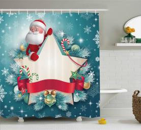 Santa Star Schneeflocke Duschvorhang