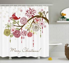 Roter Vogel-Blumenbaum Duschvorhang