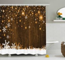 Holz und Schneeflocken Duschvorhang