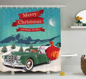 Weihnachtsmann im Oldtimer Duschvorhang