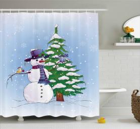 Schneemann und Baum Duschvorhang