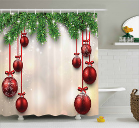 Red Balls Ribbons Shower Curtain