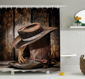 Rodeo Dirty and Black Hat Shower Curtain