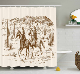 America Wild West Cowboys Shower Curtain