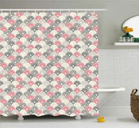 Japanese Soft Hand Fan Icons Shower Curtain