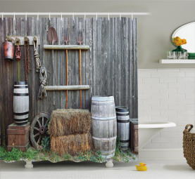 Western Wooden Barn Shower Curtain