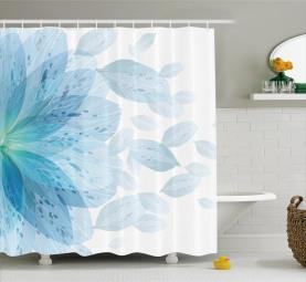 Blue Toned Foliage Leaves Shower Curtain
