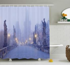 Foggy Prague Streets Shower Curtain