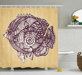 Big Fish Icon Ethnic Shell Shower Curtain