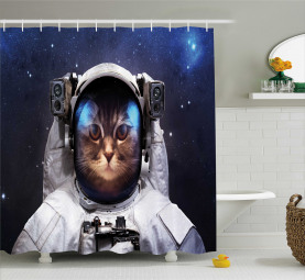 Kitty Suit in Cosmos Shower Curtain