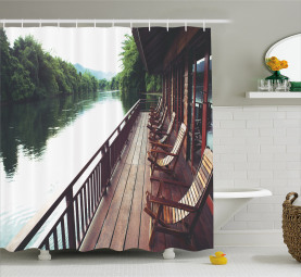 Floating Hotel on River Kawai Shower Curtain